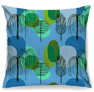 Mid Century Trees In Blue Cushion + Waterproof - bedroom