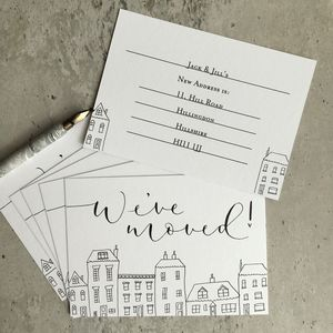 Pack Of Five New Address Notecards - new home cards