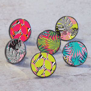 Colourful Tropical Patterned Cupboard Cabinet Knobs - door knobs & handles