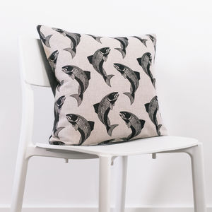 Swimming Salmon Cushion With Wool Back - cushions