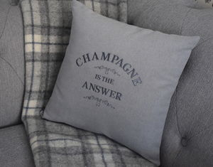Champagne Is The Answer Cushion Personalised Cushion - embroidered & beaded cushions