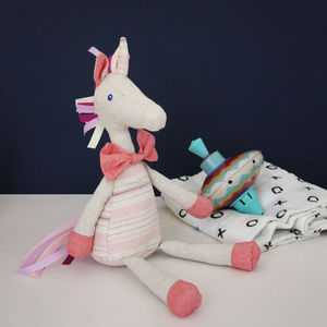 Linen Unicorn Toy With Tassels - soft toys & dolls