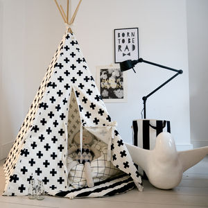 Children's Play Teepee In Monochrome Cross Print - tents, dens & teepees
