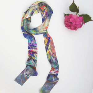 Colourful Silk Skinny Scarf - women's accessories