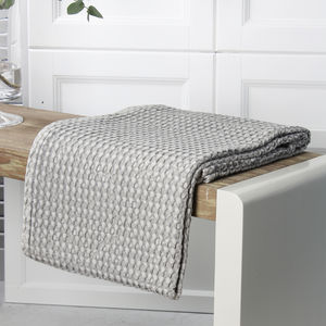 Grey Cotton Waffle Throw - home sale