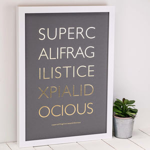 Supercalifragilistic Mary Poppins Gold Foil Print - film & tv
