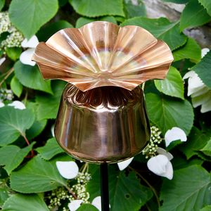Copper Poppy Seedhead Birdbath - art & decorations