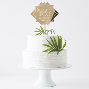 Personalised Art Deco Wedding Cake Topper - styling your day sale