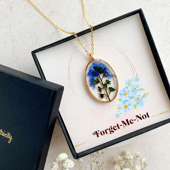 Personalised Forget Me Not Pressed Flower Necklace