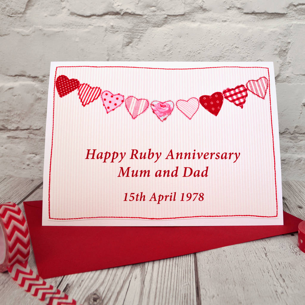 heart bunting\' personalised anniversary card by jenny arnott cards ...