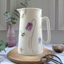 Spring Flowers And Bees Bone China Jug