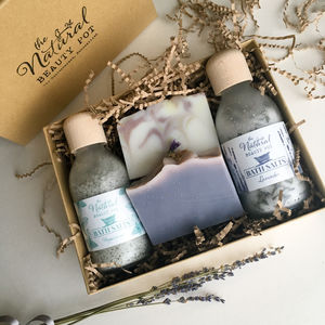 Lavender And Peppermint Bath Salts And Soap Gift Box - gift sets