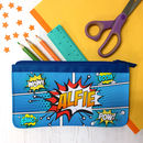 Personalised Blue Comic Style Fabric Pencil Case
