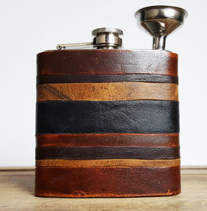 Leather Strips Hip Flask Personalised