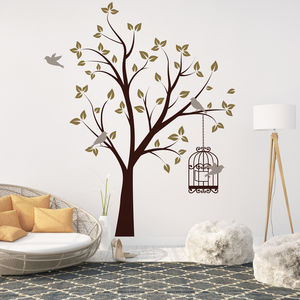 Tree With Bird Cage Wall Stickers - bedroom