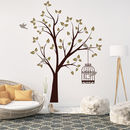 Thumb tree with bird cage wall sticker
