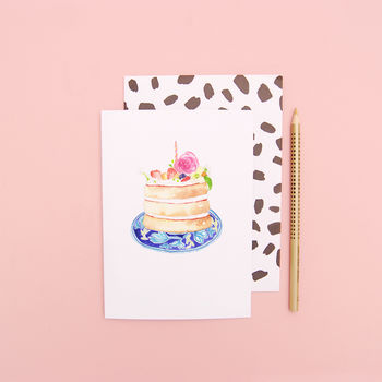Birthday Cake On A Patterned Blue Plate Birthday Card