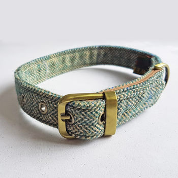 Dog Collar Tweed Blue Green
