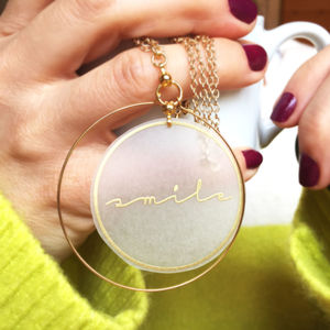 Playful Smile Gold Hoop Necklace - necklaces & pendants