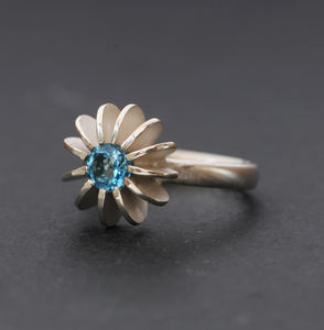 Blue Topaz Sea Urchin Ring - rings