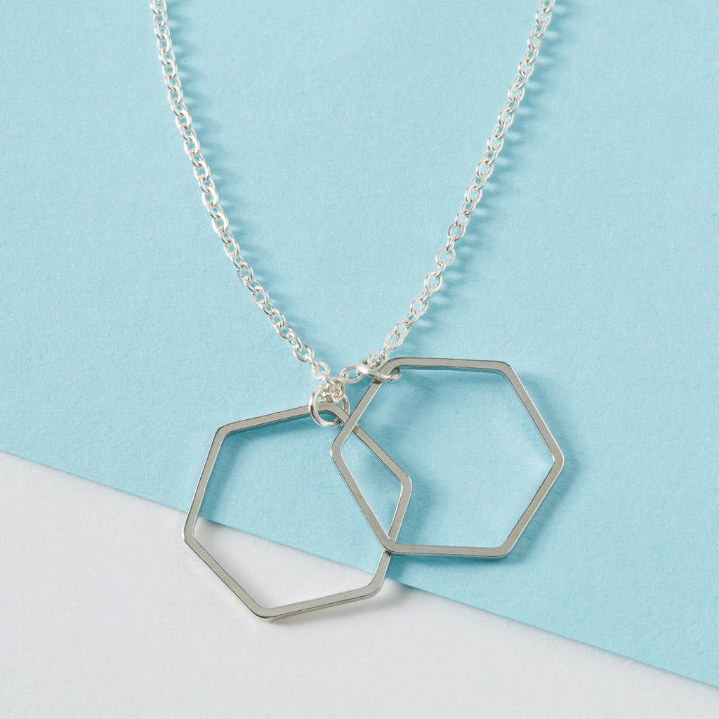 Extra long silver necklace with hexagon pendants by storm in a extra long silver necklace with hexagon pendants mozeypictures Images