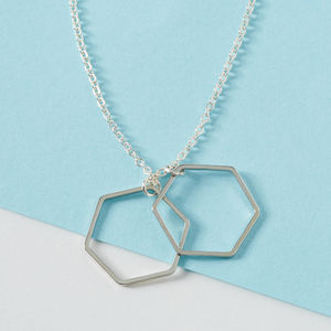 Extra Long Silver Necklace With Hexagon Pendants