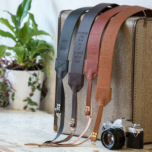 Personalised Retro Leather Camera Strap - gifts for her sale