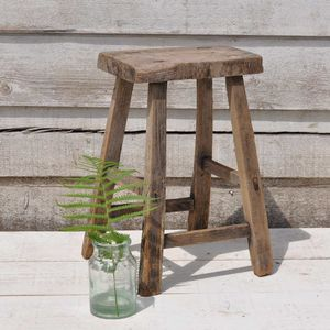 Reclaimed Low Timber Stool - furniture