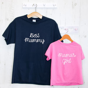 Personalised Embroidered Mother's Day T Shirt Set - mother & child sets