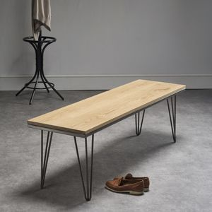 Solid Oak Bench With Industrial Steel Legs - furniture