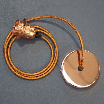 Copper Single Ceiling Rose Pendant Light Kit