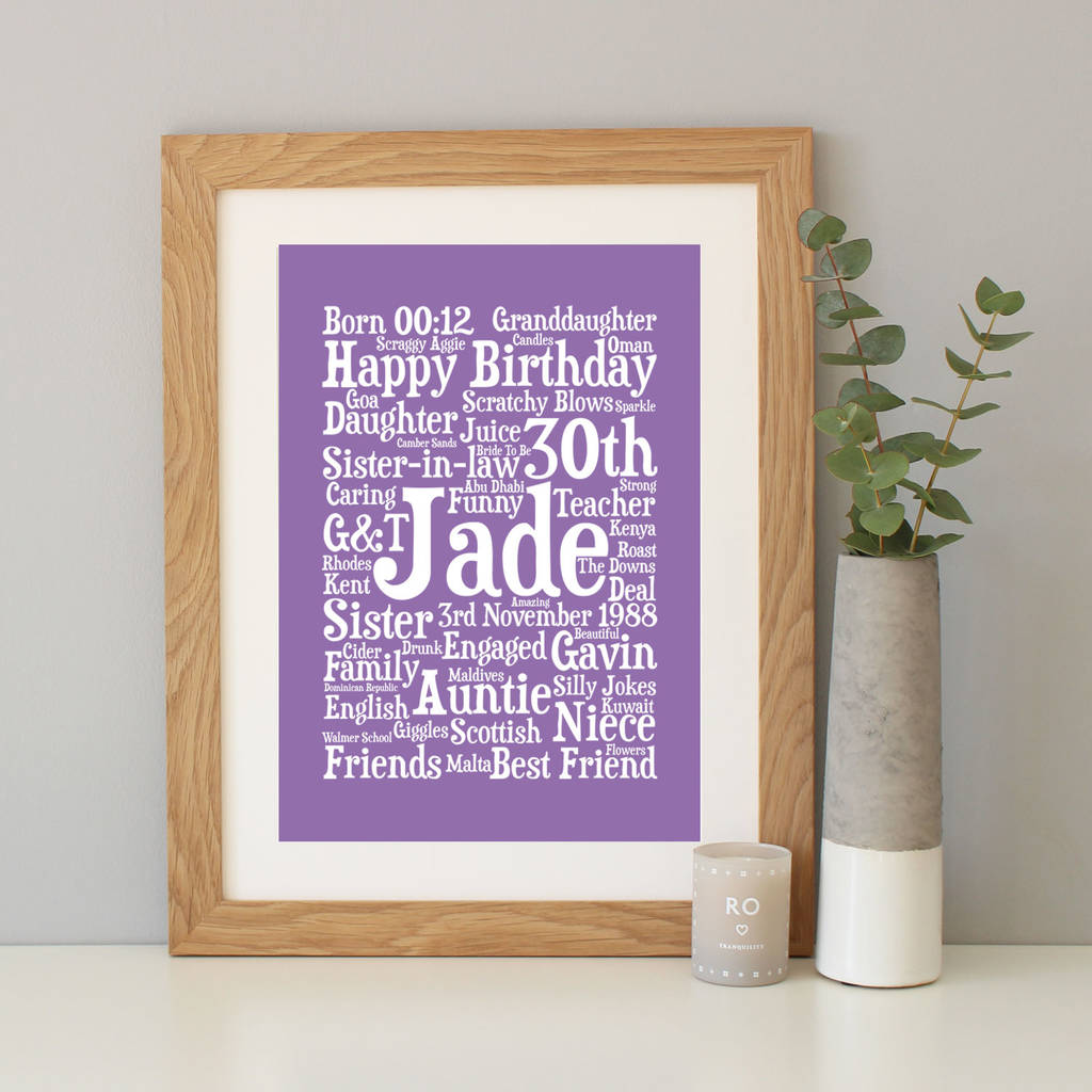 Personalised 30th Birthday Word Art Gift By Hope And Love