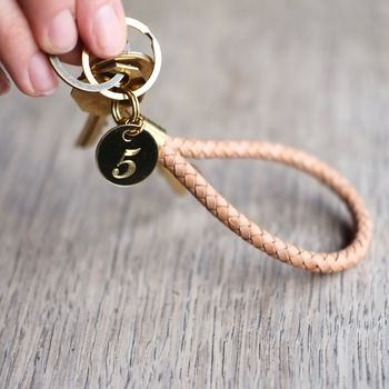 Personalised Brass Tag And Leather Rope Keyring
