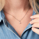 Diamond Necklace With Tiny Pave Star Charm