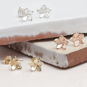 Forget Me Not Flower Stud Earrings Silver, Gold Or Rose