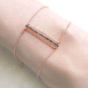 Rose Gold Bar Black Spinel Bracelet - bracelets & bangles