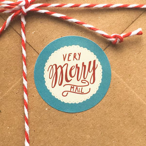 'Very Merry Mail' Mail Day Christmas Stickers - ribbon & wrap