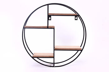 Round Black Metal And Wood Display Shelf