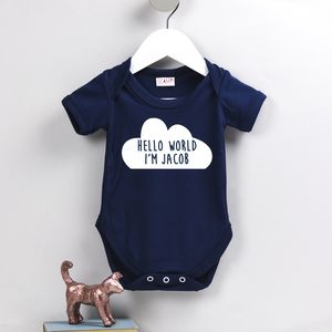 Personalised Hello Cloud Babygrow - dreamland nursery