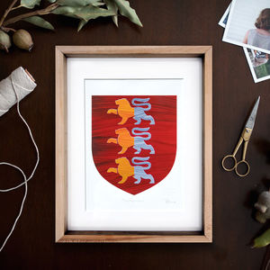 Personalised Hand Painted Single Family Coat Of Arms - paintings