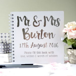 Personalised Mr And Mrs Wedding Guest Book - guest books