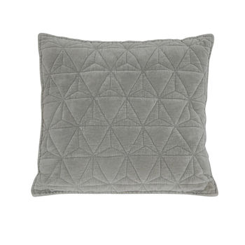 Grey Velvet Quilted Cushion