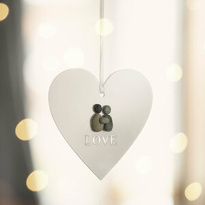 Personalised Pebble Love Christmas Hanging Heart