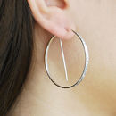 Circular Geometric Silver Hoop Earrings