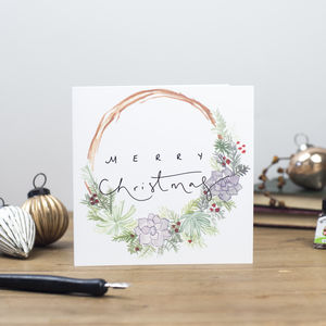 'Merry Christmas' Hand Lettering Wreath Xmas Card