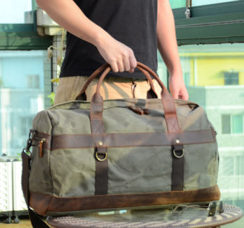 Vintage Look Waxed Canvas And Leather Holdall
