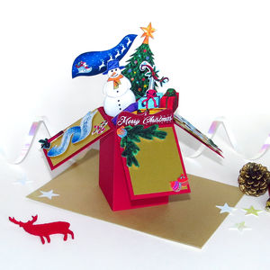 Personalised 3D Pop Up Christmas Box Card Red