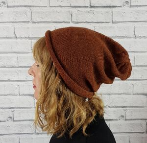 Eco Friendly Slouchy Beanie Hat Browns
