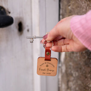 Personalised First Home Wooden Keyring For Couples