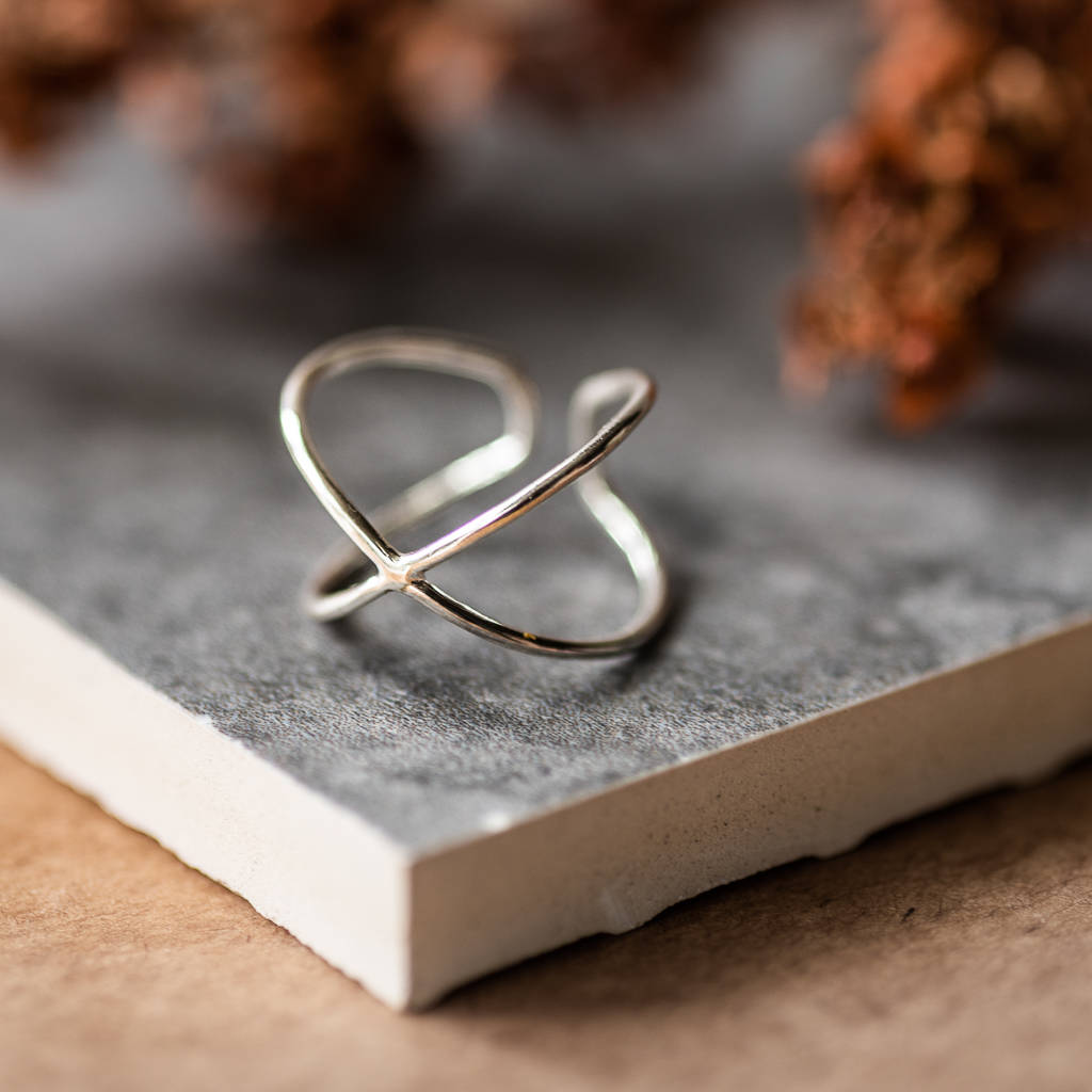 Sterling Silver Double Cross Ring